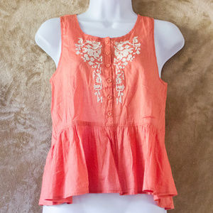 2/$20 Cottagecore Tank Peplum Coral Embroidered